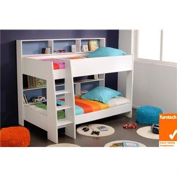 Latitude King Single Bunk Bed - White - Bunk Beds - Kids Bedroom - Kids Furniture