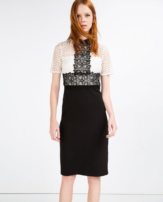 ZARA - NEW IN - TUBE DRESS WITH LACE TOP