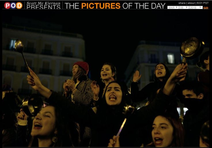 International Women's Day 2018:  March 8, 2018 - Madrid, Spain - Women bang pots and pans shouting angry slogans during the cacerolada (a pot-banging protest) at the Sol square in Madrid during International Women's Day.