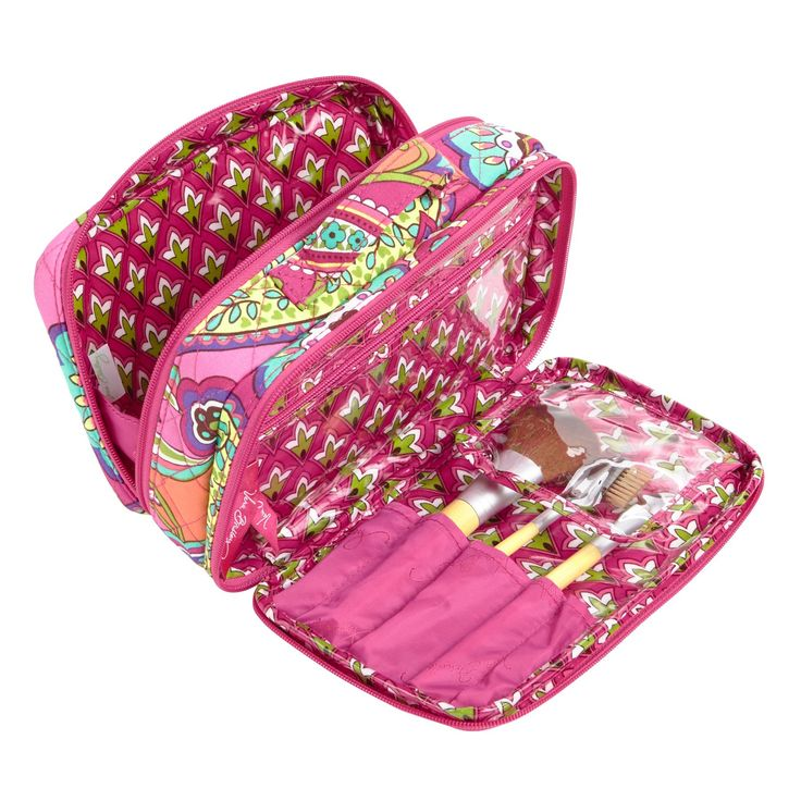 Blush and Brush Makeup Case in Pink Swirls, $42   Vera Bradley