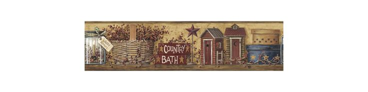 York Wallcoverings HK4650BD Border Book Country Bath Border Mustard Home Decor Wallpaper Borders