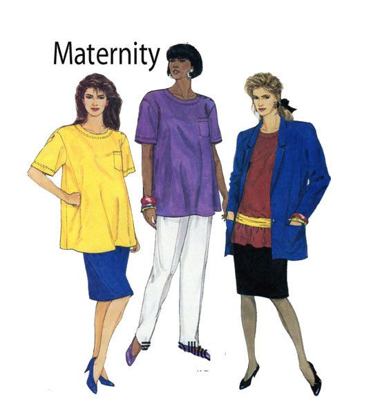 Maternity Sewing Pattern McCalls 4127 Short Sleeve Top, Straight Skirt, Pull On Pants, Button Loose Fit Jacket/Blazer Size 10-12 UNCUT by FindCraftyPatterns on Etsy