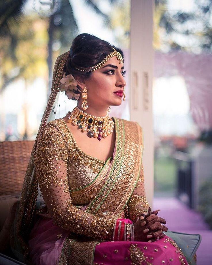 "WeddingSutra.com on Instagram: ""Bride Taruna Lachhwani exudes royalty in a navratan choker teamed with her fuchsia and aqua lehenga for her pheras at @SheratonHuaHin."