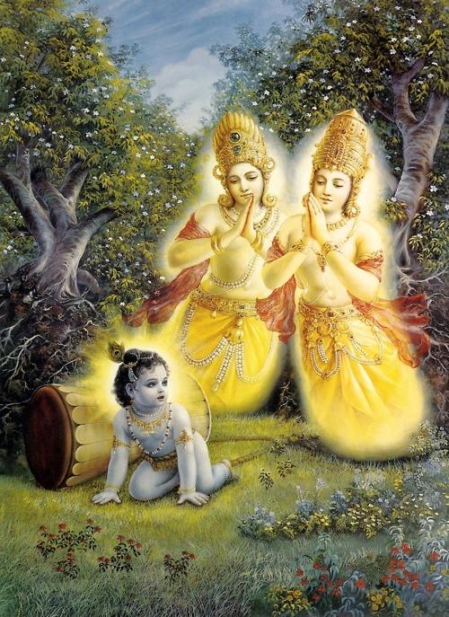 Angels & celestial beings worshiping baby Krishna