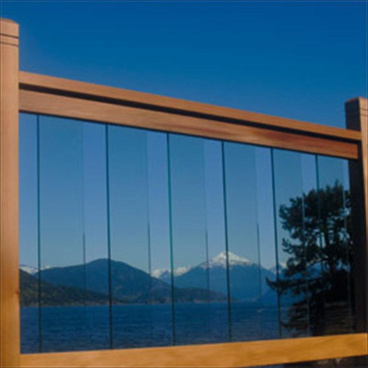 "BuildDirect – Cedar & Glass Railing Kits - Clearview Series – 36"" Rail Kit (26 1/4"" Glass) - Outdoor View"
