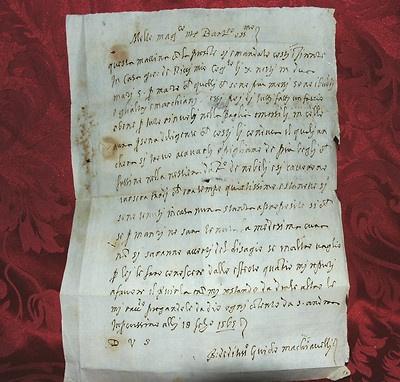 Lettera autografa di Guido Machiavelli, figlio del grande Niccolò, datata 18 febraro 1565