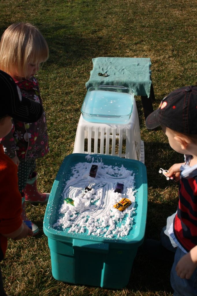 Shaving cream car wash. After we use our cars to paint we will need to give them a good wash.