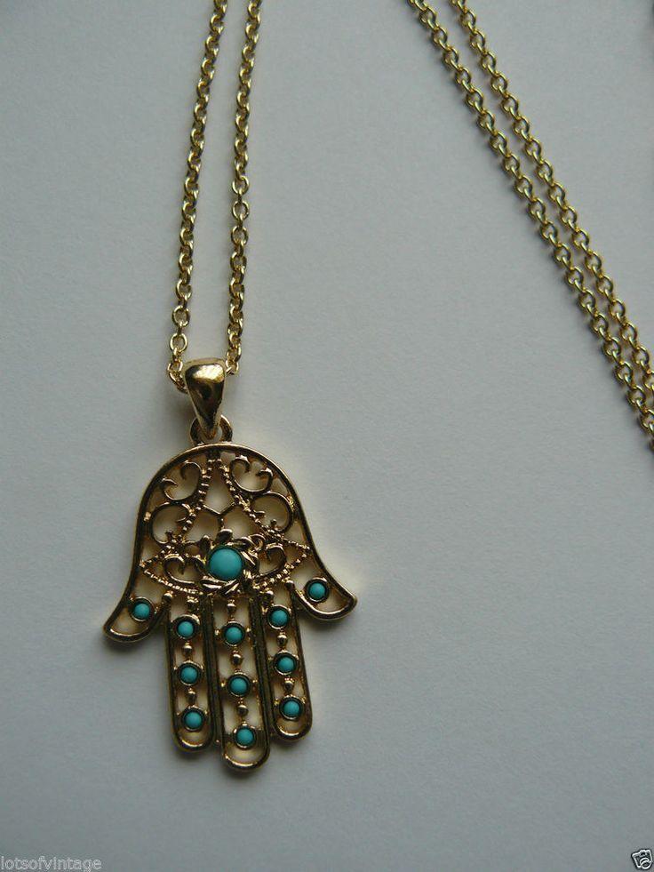 BEAUTIFUL GOLD PL FILIGREE HAMSA FATIMA HAND pendant necklace TURQUOISE boho NEW