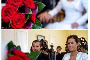 mariage, couple, mairie, bouquet rouge, pourpre, bassin d'Arcachon, aquitaine - Mini-Fée Photographie