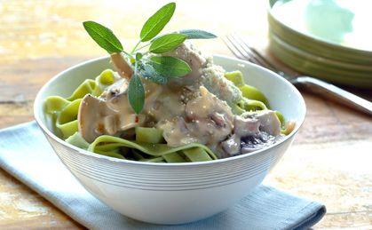 Fettucine in a creamy mushroom and sage sauce