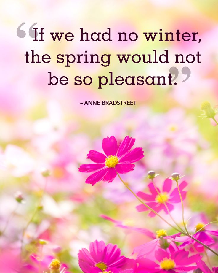 """If we had no winter, the spring would not be so pleasant."""