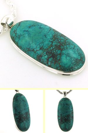 Very large natural turquoise pendant set in sterling silver