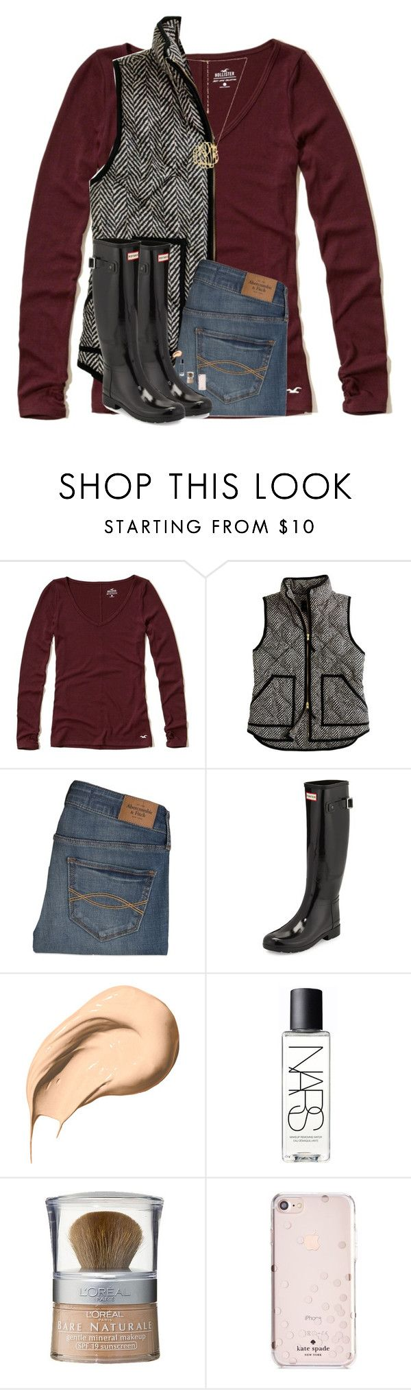"""""""This is really bad"""" by hgw8503 ❤ liked on Polyvore featuring Hollister Co., J.Crew, Abercrombie & Fitch, Hunter, Bobbi Brown Cosmetics, NARS Cosmetics, L'Oréal Paris and Kate Spade"""