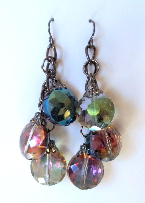 Iridecent Dangle Bead Earrings Handmade Elegant Rhinestone Jewelry  #etsymnt #bridalearrings