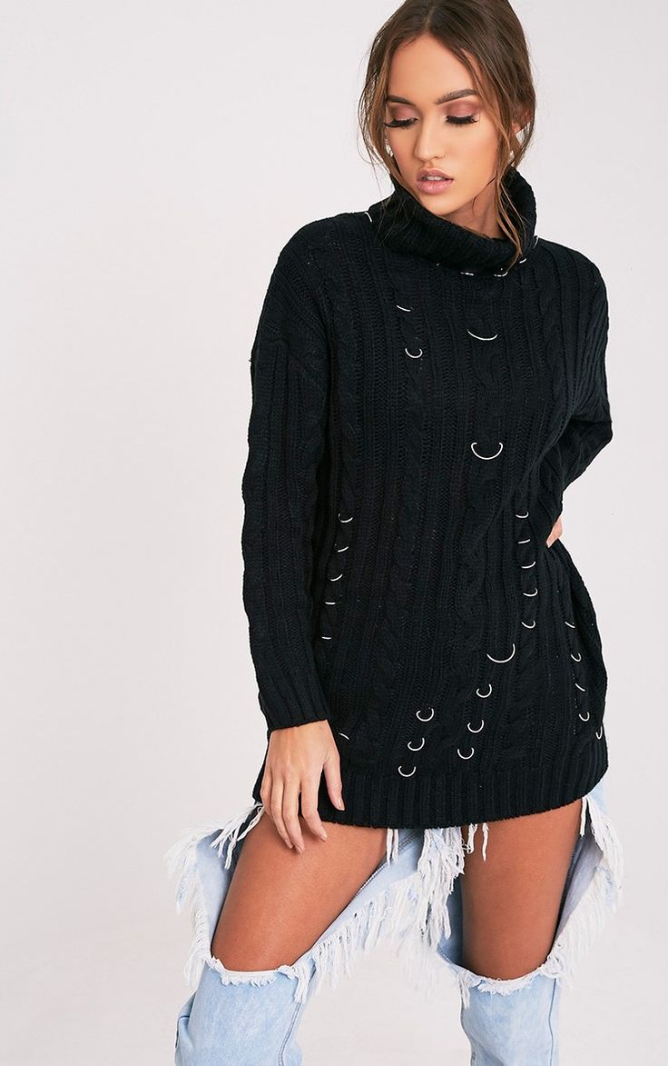 Black Ring Detail Chunky Knit JumperAdd an edgy vibe to your chunky knit jumper collection this y...