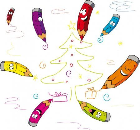 Divertidos Lapices De Colores De Dibujos Animados De Navidad Vector De Ilustracion Ilustrac En 2020 Lapices De Colores Dibujos Animados De Navidad Dibujos Animados