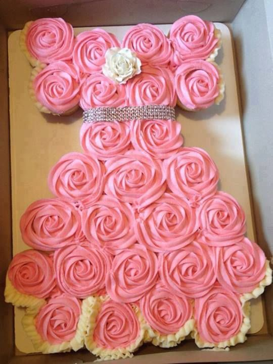 The cupcakes are topped with swirled white or pink frosting and then arranged in the shape of a wedding dress , SO BEAUTIFUL !  Easy to make --> http://wonderfuldiy.com/wonderful-diy-amazing-wedding-dress-cupcake/