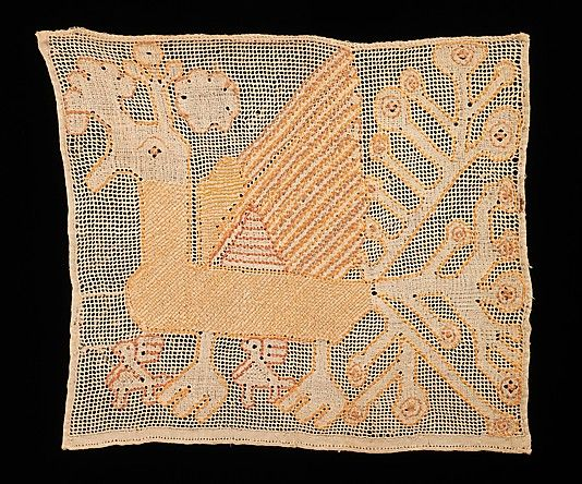 Towel border Date: early 19th century Culture: Russian Medium: Linen, silk Dimensions: 15 1/2 x 13 1/2 in. (39.4 x 34.3 cm)