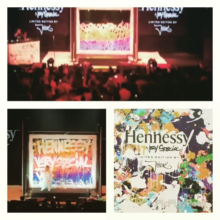 About last night...it was epic.The intersection of art and alcohol was magick. Three art forms came out to play: the art of the cocktail, music, and graffiti art. JonOne painted on stage as the DJ did his thing. It was a night for the senses. #brandy #cognac #Hennessy