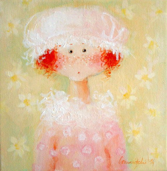 Girl's Wall Art Whimsical Girl Illustration Art Dolls