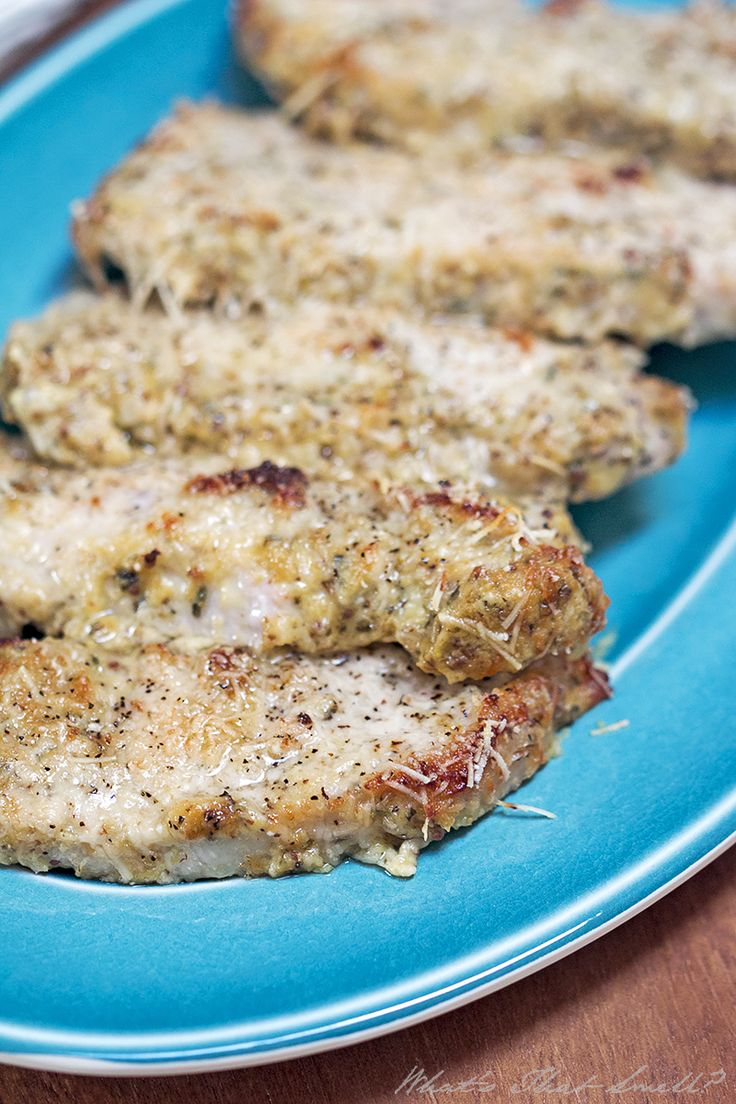 "Low Carb Parmesan Dijon Pork Chops - easy to make ""breaded"" pork chops that are low carb, paleo, gluten-free, etc. They are also delicious! #lowcarb #dinner #porkchops"