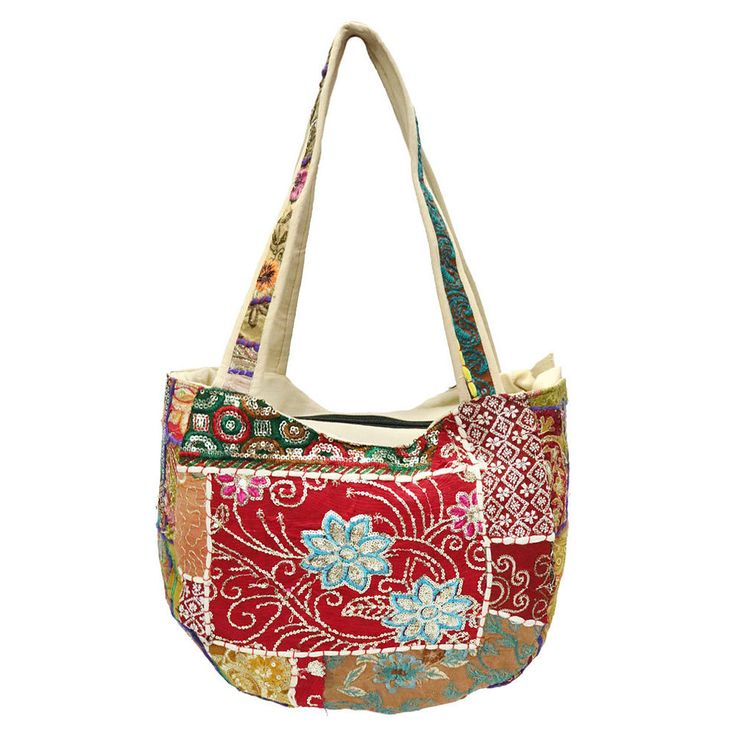 Ethnic Embroidered Cotton Bags Vintage Shoulder Shopping Bag Hippie Woman Bgas #Handmade #ShoulderBags