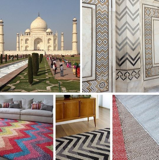 We were recently in India and were lucky enough to make a visit to the majestic Taj Mahal. There were chevron patterns inscribed in marble all thru the mausoleum. The Taj Mahal is over 480 years old and chevrons are still a very popular design today. Check out some of our chevron rugs!! #tajmahal #chevron #zigzag #rugs #therugcollection #india