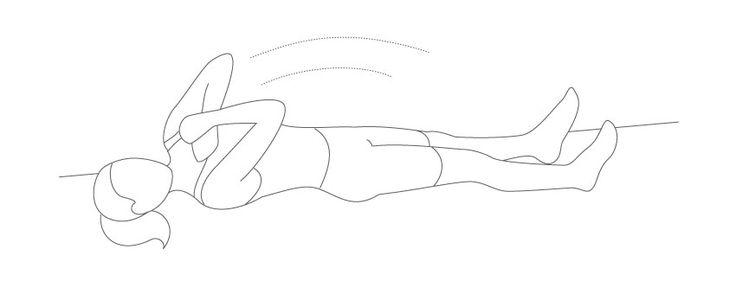 se acueste boca arriba con las piernas apoyadas en el suelo. Con los brazos cruzados sobre el pecho, con las manos sobre sus hombros, levantar la cabeza. Levante ligeramente la parte superior del cuerpo, permanecer en esa posición durante un segundo y volver a bajar. Tenga en cuenta que no es necesario levantar a ti mismo más arriba como usted necesita para concentrarse en contraer los músculos abdominales, y no forzar el cuello y los hombros. Realice dos o tres series de 10