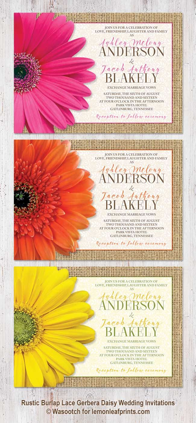 Rustic burlap, lace and gerbera daisy wedding invitations. Available with a pink, orange, or  yellow gerbera daisy. These gerber daisy wedding invitations also have matching RSVP cards available.