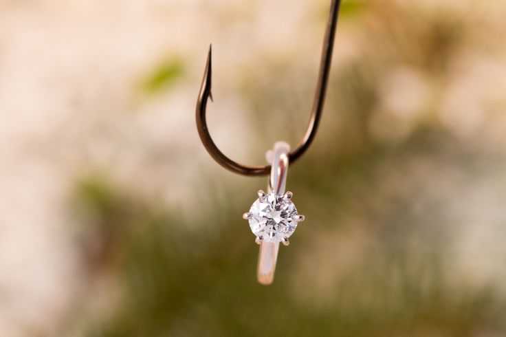 Solitaire, Engagement Ring, Fishing, Creative Photo