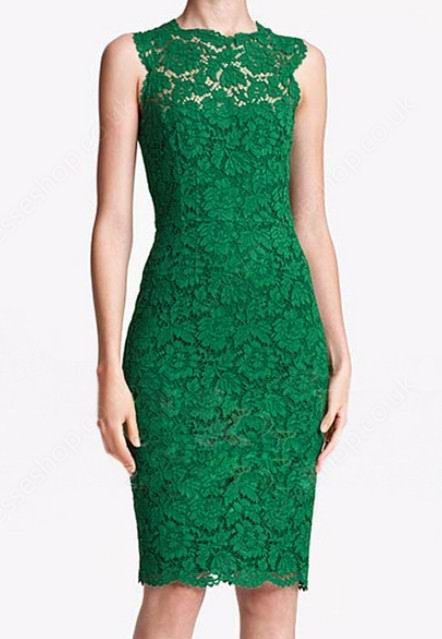 Green Round Neck Sleeveless Lace Bodycon Dress