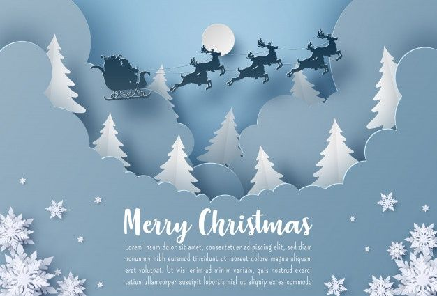 Merry Christmas Greeting Card Template With Santa Claus And Reindeer Flying On The Sky Merry Christmas Card Greetings Christmas Greeting Card Template Christmas Postcard