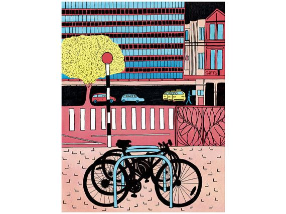 'CBD' note card, Christchurch city and bikes, by AnnaCullArt on Etsy