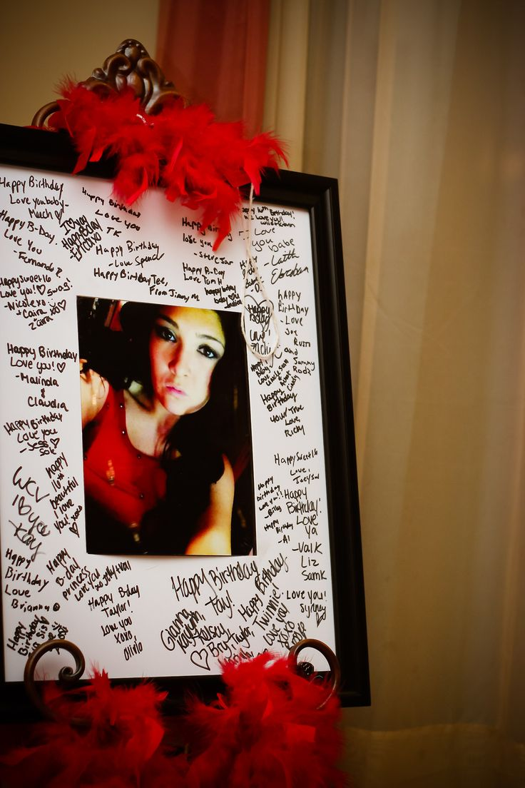 This is a great idea! Have all the guests sign a board with the birthday girl's picture!