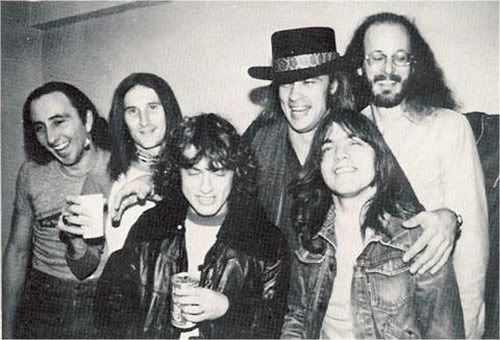Angus and Malcolm Young - AC/DC - backstage with Blackfoot band (Rickey Medlocke)