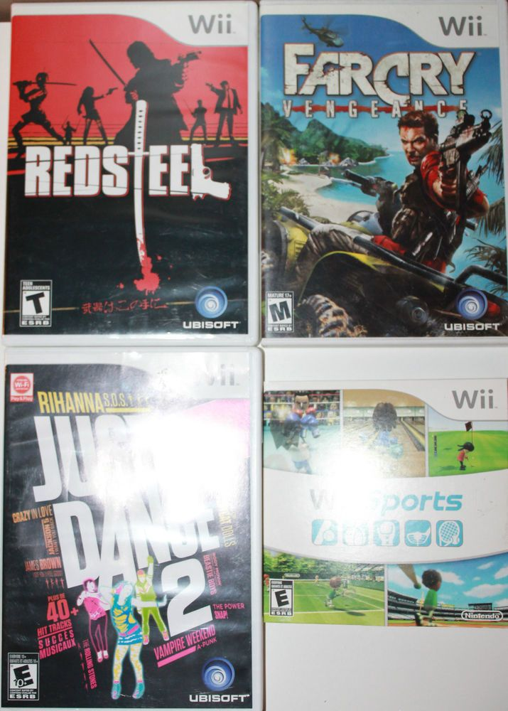 4 x Nintendo Wii Games Sports + Farcry Vengeance + Red Steel + Just Dance 2