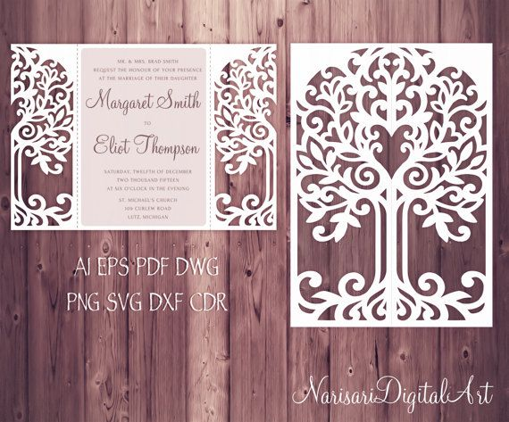 Love Tree Wedding Invitation Card Template, Quinceanera Invitation, SVG, DXF cutting file, die cut, laser cut Silhouette Cameo, Cricut