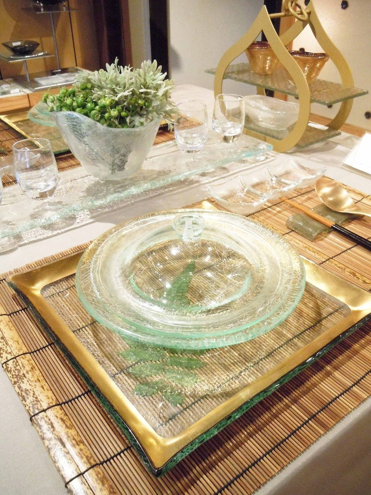 Fine dining setup with glass tableware. Designs by Glass Studio