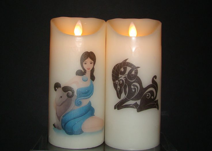 Aries March 21 ~ April 20  Beautiful flameless pillar candles adorned with Lady Aries and the Ram.