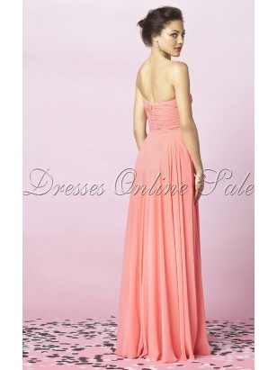 Modern Pink Sheath Floor-length Chiffon Sweetheart Dress With Ruched