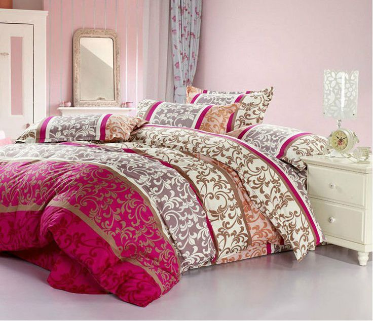 Venda quente vermelho tamanho queen 4 pcs jogo do fundamento comforter 100% luxo impressão algodão lençóis affor...