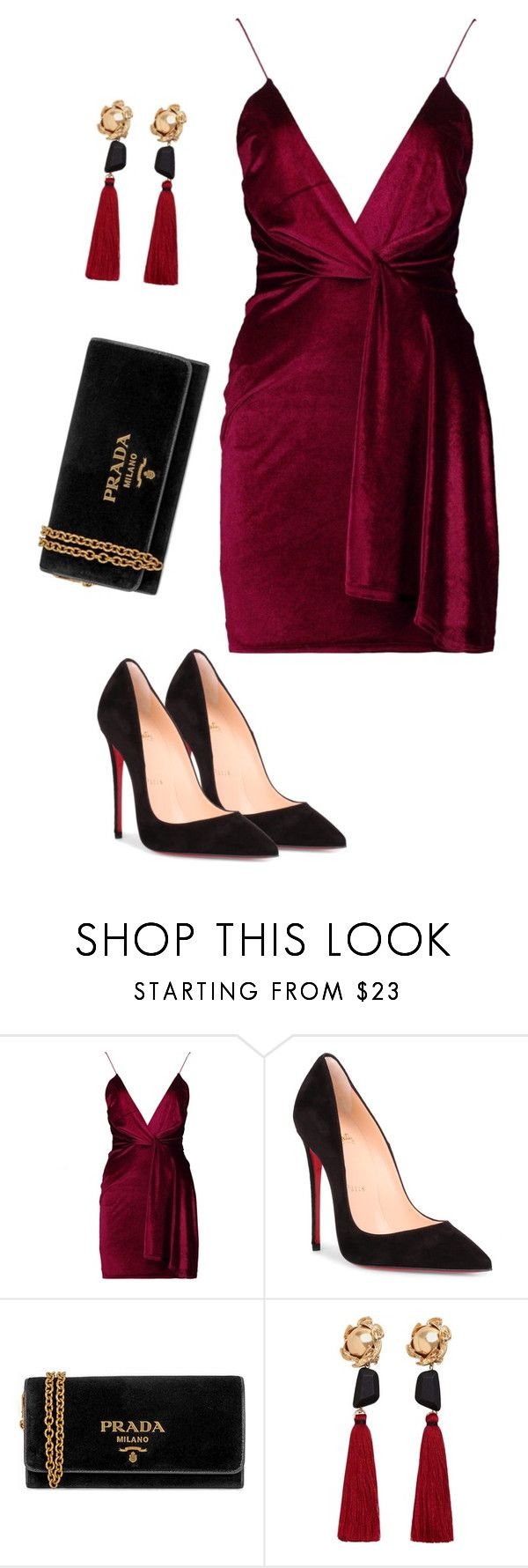"""-"" by beatricewolf ❤ liked on Polyvore featuring Boohoo, Christian Louboutin, Prada and MANGO"