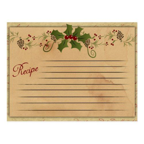 Vintage Christmas Recipe Card | Zazzle.com