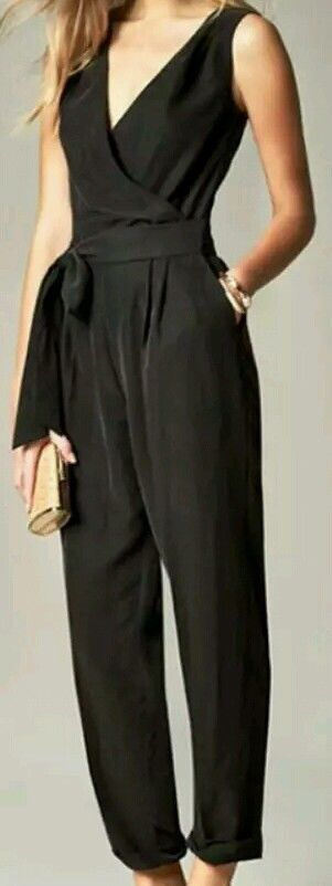 NWT Banana Republic PETITE 00, Belted Jumpsuit, Black #BananaRepublic #Jumpsuit