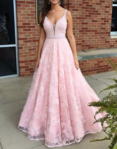 2017 prom dresses,Pink prom dresses,v neck prom dresses,lace long prom dress, pink lace formal dress,BD170427