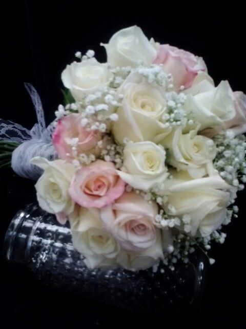 Pink And White Rose Bouquet With Lace Ribbon Wrap By Superior Hy Vee