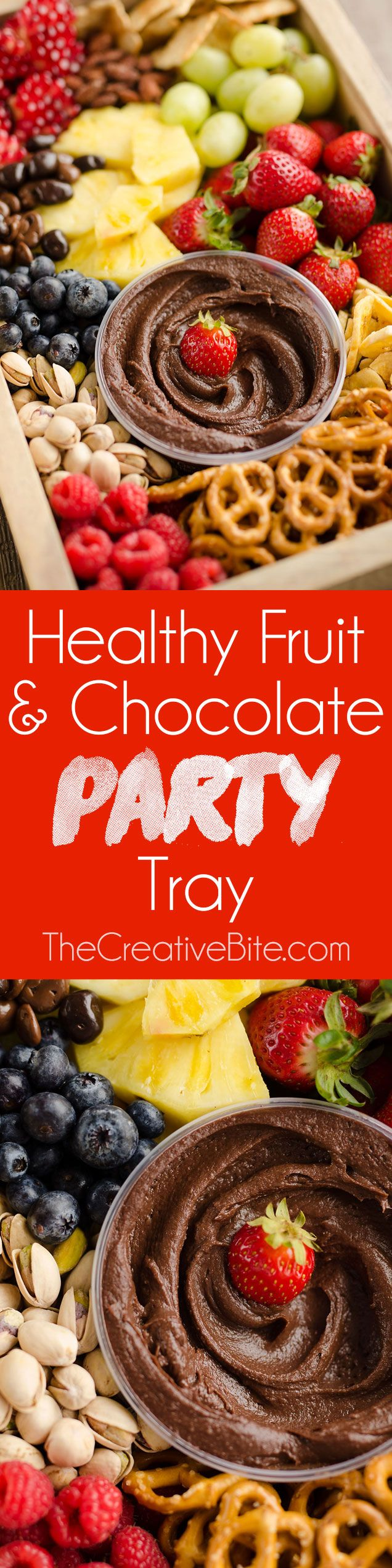 Healthy Fruit & Chocolate Party Tray is a fantastic appetizer for your next get-together. A wholesome mix of fruit, nuts, pretzels and more are served withBoar's Head Dark Chocolate Hum-mus for a selection of elegant and delicious finger food. #ad #AllFlavorNoGuilt