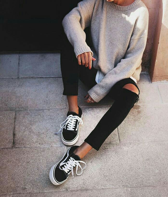 vans old skool black ripped jeans grey sweater and shirt
