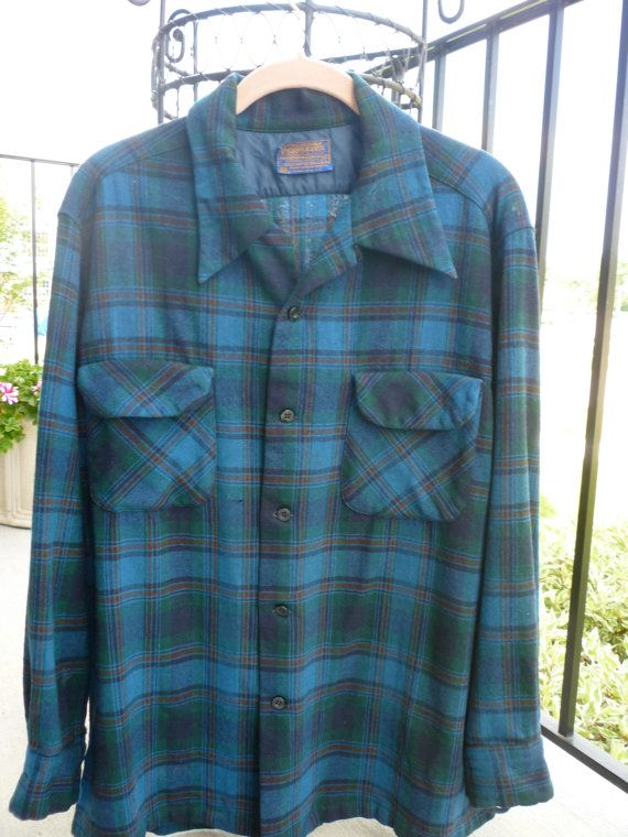 Vintage Pendleton Shirt 1940's  Size Large. Wool Shirt