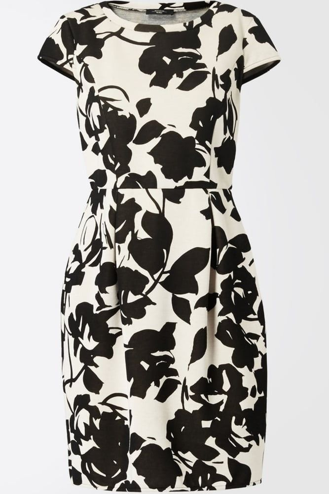 Weekend MaxMara    Floral print tulip dress   Black and white oversized print   Round neckline   Cap sleeves   Darts and front pleats   Falls above the knee   Bonded jersey   100% modal   Machine wash   Product Code: 23492